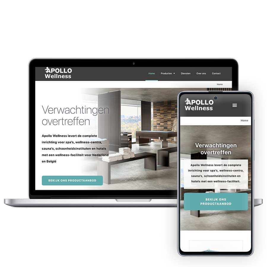 Website Apollo Wellness op mobiel en desktop