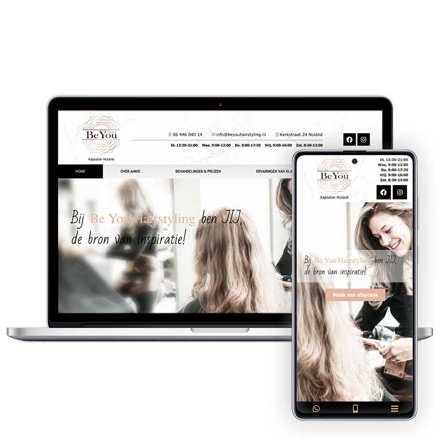 Website Be You Hairstyling op mobiel en desktop